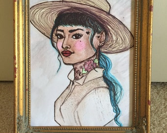 Watercolor painting with vintage frame