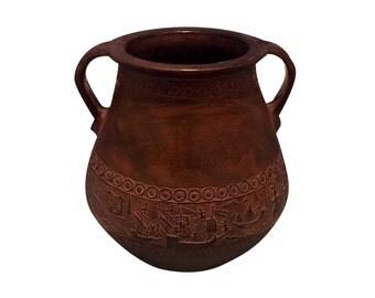 SALE! Antique Greek Decorative Dark Brown Stoneware Pottery Urn Vase with Handles