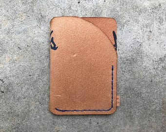 Reverse natural leather trifold wallet with indigo thread