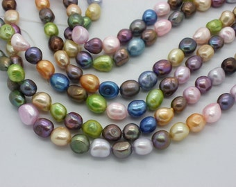 54 pearls Baroque multicolored of 6 x 8 mm blue, green, beige, orange