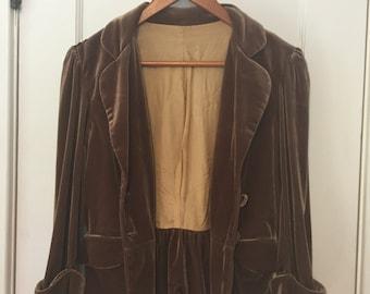 Vintage velvet cropped flared jacket