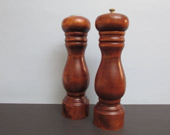 """Large Wood Baribocraft Salt Pepper Shakers/ 1970's Tall Hardwood Shakers, Pepper mill, grinder.  Made in Canada.  Very good cond/  9 1/4"""" H"""
