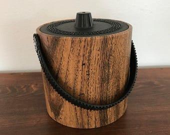 Mid-Century Ice Bucket - Wood Look - Phoenixware