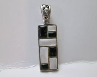Vintage Black and White Checkered Mod Rectangular Necklace Pendant - 925 Sterling Silver Jewelry Charm