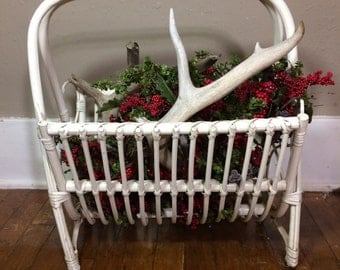 Vintage white cream wicker basket organizer