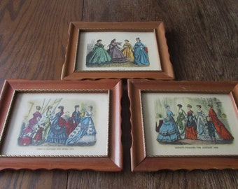 3 Vintage Godey Fashion Pictures Small Framed Godey 1800's Fashions