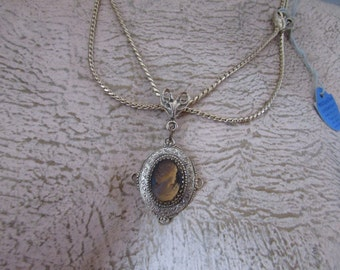 Vintage Whiting & Davis Cameo Necklace Tagged Oromesh Paper and Metal Tags
