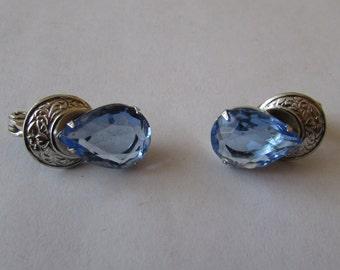 Vintage Pr Lewis Segal Blue  Rhinestone Pierced Earrings
