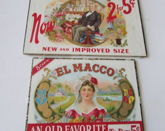 2 Vintage Cigar Lids Only Cardboard Great Graphics Repurpose