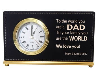 Gift to our Caring Dad, Custom Gift for Dad on Father's day, Thank you Gift for Daddy, Birthday Gift for Dad, Papa Gift, Desk Clock, LCD074