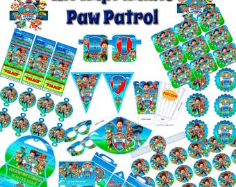 Printable and editable Paw Patrol patrol canine Kit + sweets (Candy Bar) table DIY edits, prints, decorate and celebrate!