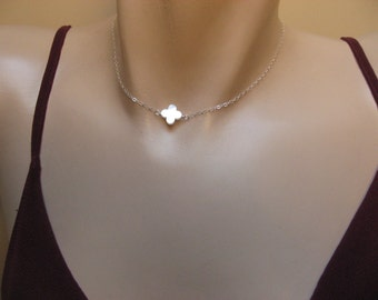 Mother Of Pearl Clover Necklace, 14k Gold Fill or Sterling Silver, White MOP Clover Necklace, Side Leaf Clover, Bridesmaid Jewelry