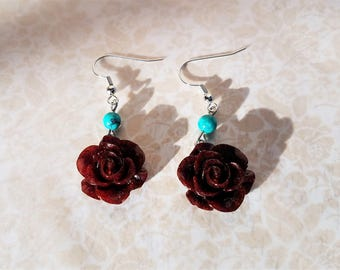 Red chile resin rose and turquoise bead earrings