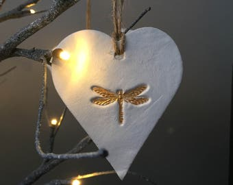 Large white and gold ceramic dragonfly hanging heart decoration