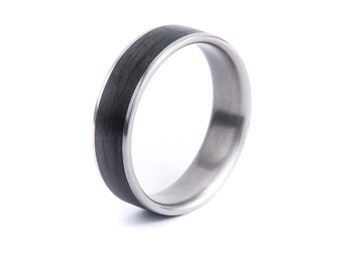 Titanium With Carbon Fiber Ring. Wedding And Engagement Ring. For Men And Women. Custom Made.