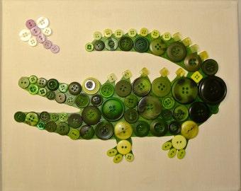 Button Art for Kids - Alligator