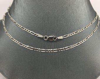 14K White Gold Figaro Chain