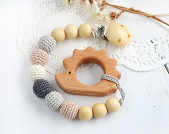 Pacifier Clip Neutral color - Grey Cream Beige  - Hedgehog Pendant - Heart - Elephant Neutral color Safe for teething baby  Baby shower gift
