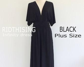 Plus Size Black Bridesmaid Dress Maxi infinity Dress Prom Dress Convertible Dress Wrap Dress
