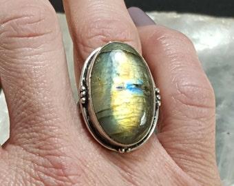 Labradorite Statement Ring - Size 7