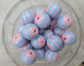 20mm resin STRIPE beads pink/blue - chunky bubblegum jewelry