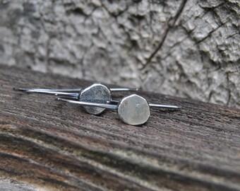 Drop Earrings, Silver Drop Earrings, Hammered Silver, Rustic Earrings