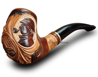 """Hand Carved """"Sherlock Holmes"""" Smoking pipe / 140 mm - 5.5 in / FREE Gift / Wooden Pipe / Tobacco pipe"""