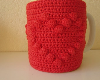Mug cozy heart | cup cozy | Mother's day gift | cup cozy heart | coffee cozy | sleeve cozy | crochet cozy | red cozy | red heart sleeve