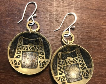 Steel Bridge Earrings, Made in Oregon, Bridges of Portland, Brass Etched Earrings, Small Handmade Earrings