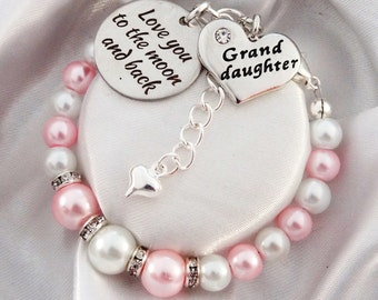 Granddaughter gift etsy pink white pearl bracelet love you to the moon and back granddaughter heart negle Gallery