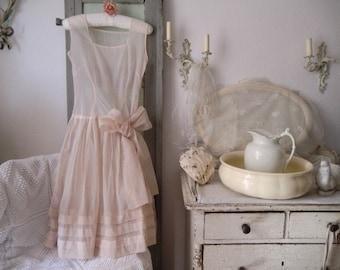 Vintage 50s 60s pale pink nude nylon dress semitransparent bohemian boudoir shabby chic