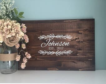 Rustic Wedding Guest Book Alternative /Family Name Laurel Leaf Design/ Painted Rustic Wedding Decor Wood Guest Book Country Wedding Gift