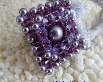 "ring ""Lisbon"" ring in swarovski crystal, amethyst and light lilac"