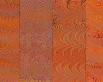 Hand Marbled Paper Set: 4 Sheets 8x11 (Orangey Set)
