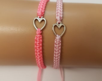 Mother daughter bracelet set - mothers day - girls bracelet - mother and daughter - heart bracelets - pink bracelets - gift for her - mum