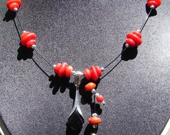 Coral and Cherry Amber Necklace
