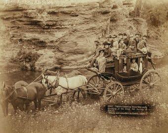 "John C.H. Grabill Photo, ""Tally Ho Coaching"" party coaching at Great Hot Springs of Dakota, 1889"
