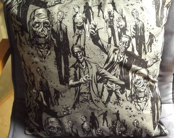 Zombie themed cushion cover, horror, home decor, gift, soft furnishings, gothic, print fabric