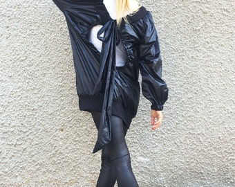 Asymmetric Extravagant Winter Black Jacket, Oversize Black Cardigan, Maxi Waterproof Windproof Trench by SSDfashion