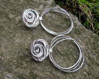 Silver Clay Earrings / Eco Silver / Sterling Hoop Earrings / Recycled Silver / Clearance Item