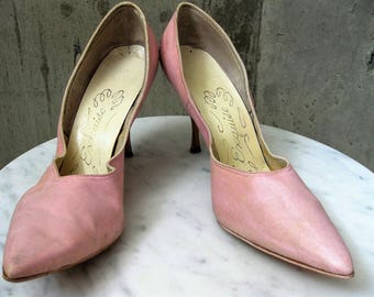 Vintage Winklepicker 1950s Pointed Toe High Heel Shoes Pink Exquisite Footwear Women's Leather