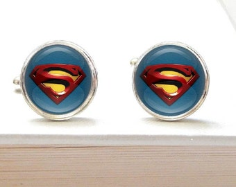 Superhero cuff links - comic book - custom cuff links - suit accessories - Clark Kent