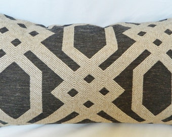 Forte Graphite / Decorative Throw Pillow Cover Lumbar Pillow Cover / Woven Geometric / Both Sided / All Size Available