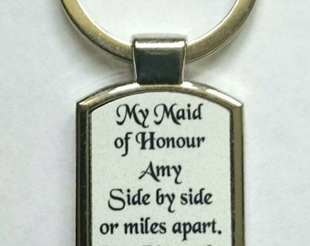 Personalised Maid of Honour Keyring - New - Boxed