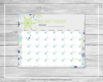 Winter Baby Shower Guess Baby's Birthday - Printable Baby Shower Guess Baby's Birthday - Baby It's Cold Outside Baby Shower - SP142