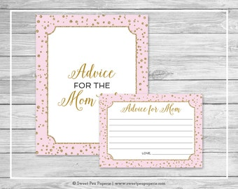 Pink and Gold Baby Shower Advice for Mom Cards - Printable Baby Shower Advice for Mom Cards - Pink and Gold Confetti Baby Shower - SP145