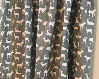 Gray and white deer  curtain  panels choose size