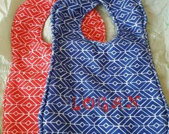 Embrodered Reversible Bibs