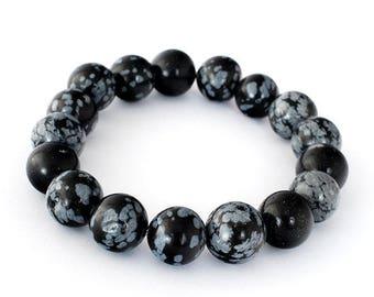 Snowflake Obsidian Bracelet, Snowflake Obsidian Bracelets 10 mm, Snowflake Obsidian Bracelets, Snowflake Obsidian Bead Bracelet, Snowflake