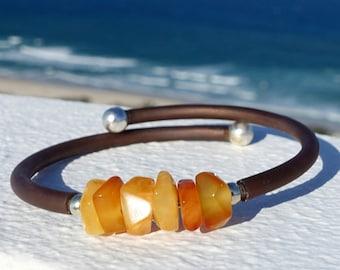 Baltic Amber Jewelry, Baltic Amber Cuff Adjustable Memory Wire Bracelet, Yellow Butterscotch Beaded Bracelet